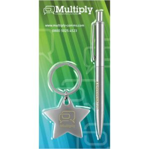 Blister Packed Giotto Metal Ballpen with Star Key Ring